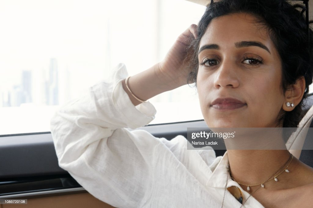 Portrait in the car. : Stock Photo