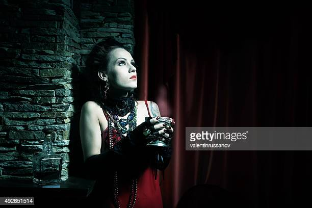portrait in the dark . halloween theme - horror movie stock photos and pictures