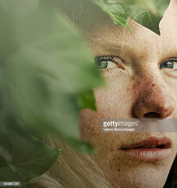 portrait in the ivy - freckle stock photos and pictures