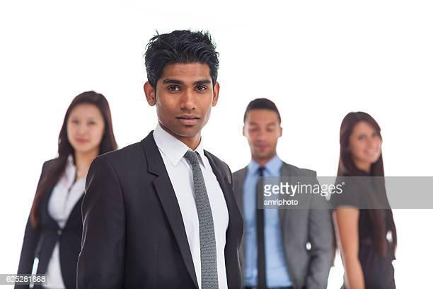 portrait indian business man, peers blurred