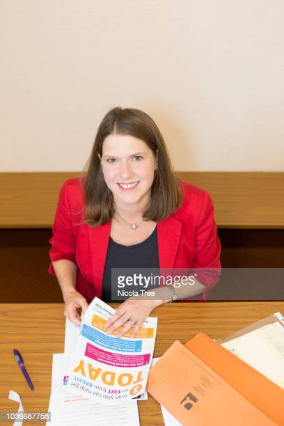 Portrait Jo Swinson deputy leader of the liberal democrats at work in her constituency reviewing Brexit material on August 23rd 2018 in Kirkintilloch...