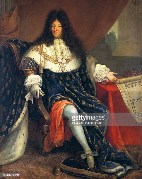 Portrait Louis XIV Holding a Plan of the Maison Royale de SaintCyr the third King of France and Navarre known as the Sun King Painting by anonymous...