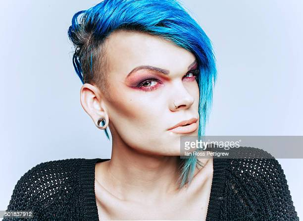 Portrait, male transvestite with blue hair