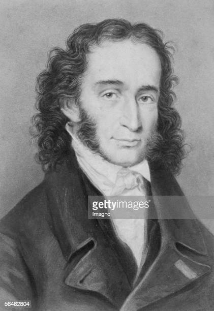 Portrait Niccolo Paganini italian violin virtuoso and composer Around 1830 [Portrait Niccolo Paganini italienischer Geigenvirtuose und Komponist *...