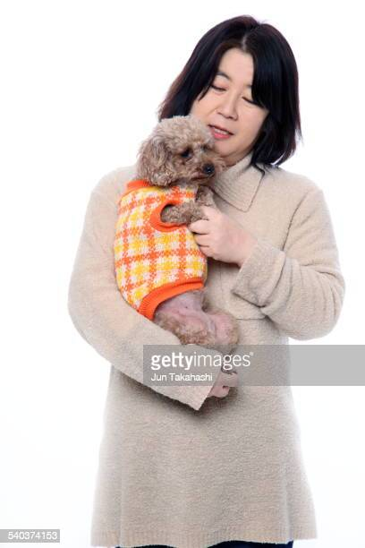 portrait o Japanese woman with dog
