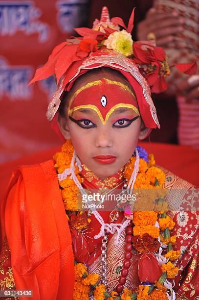 A portrait of 10yrs old Kumari living goddess of Tokha during ritual puja of different Kumari's observed in Tokha Kathmandu Nepal on Saturday January...