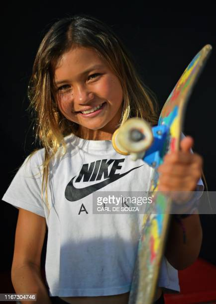 Portrait of 11year old skateboarder Sky Brown during a second day of practice sessions at the World Park Skateboarding Championships in Sao Paulo on...