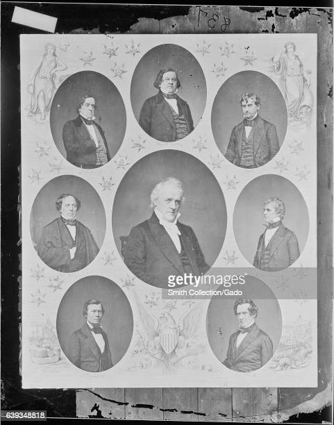 Portrait of 15th President of the United States James Buchanan surrounded by portraits of the members of his cabinet Secretary of the Treasury Howell...