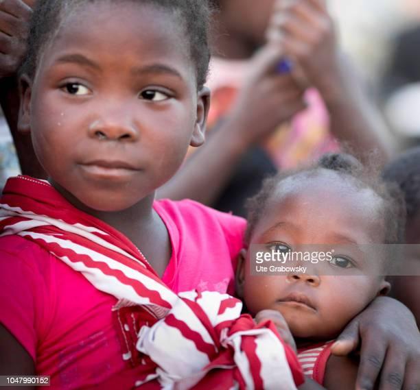 Portrait of 2 girls in a slum on August 26 2018 in Beira Mozambique
