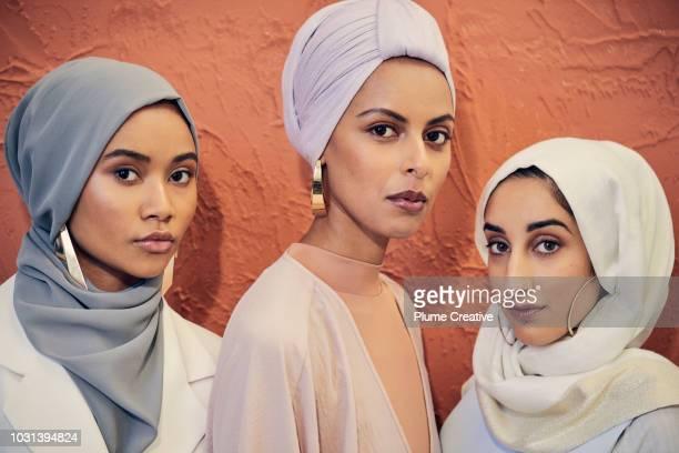 Portrait of 3 beautiful women in hijabs