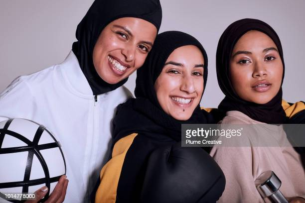 Portrait of 3 female athletes