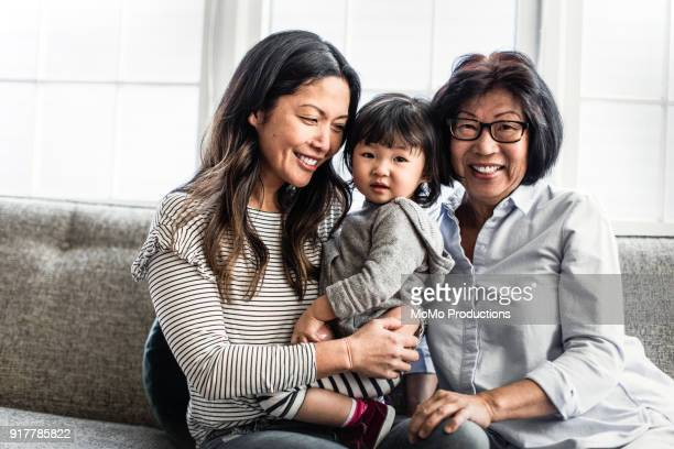 portrait of 3 generations of women at home - multi generation family stock pictures, royalty-free photos & images
