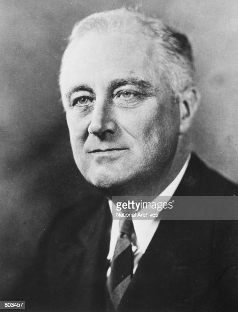 Portrait of 32nd United States President Franklin D Roosevelt