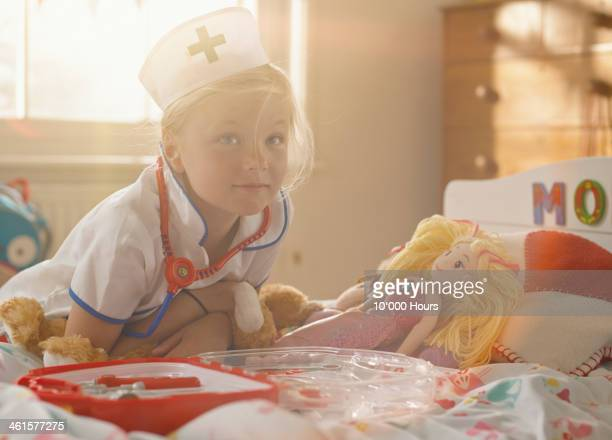 portrait of 7 yo girl dressed as a nurse - nurse mask stock pictures, royalty-free photos & images