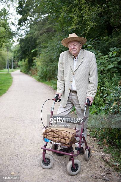 Portrait of 94-year-old man with walking frame