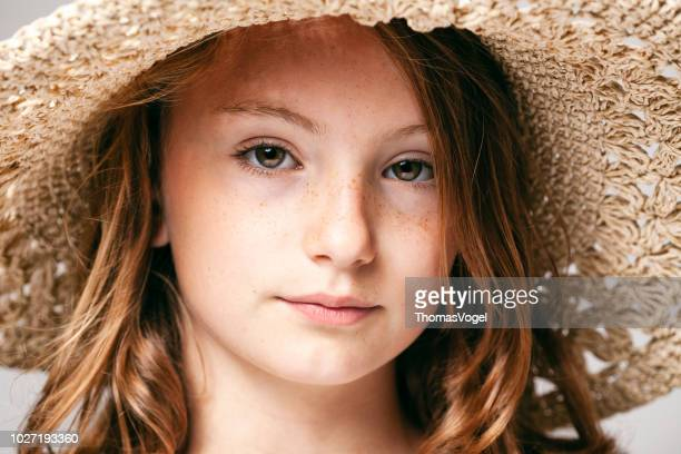portrait of a 10 years old pretty girl  -  child teenager face hair beauty fun eyes freckles - 12 13 years stock pictures, royalty-free photos & images