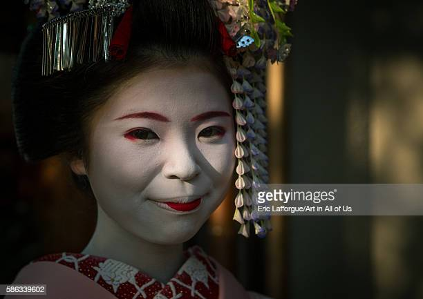 Portrait of a 16 years old maiko called chikasaya kansai region kyoto Japan on May 27 2016 in Kyoto Japan