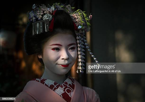 Portrait of a 16 years old maiko called chikasaya, kansai region, kyoto, Japan on May 27, 2016 in Kyoto, Japan.