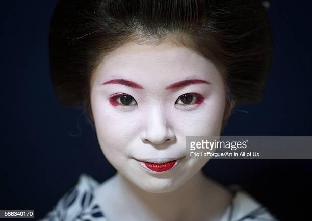 Portrait of a 16 years old maiko called chikasaya kansai region kyoto Japan on May 27 2016 in Kyoto Japan