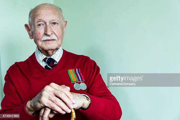 portrait of a 90 year old world war 2 veteran - veterans stock photos and pictures