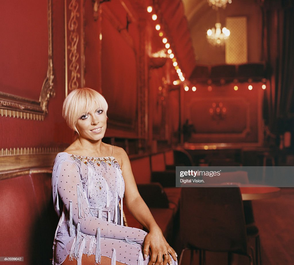 Portrait of a Ballroom Dancer with a Blond Bob : Stock Photo