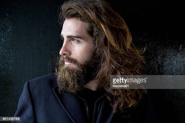 portrait of a bearded businessman - long hair stock pictures, royalty-free photos & images