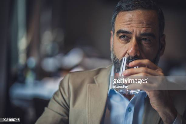 Portrait of a bearded senior man drinking fresh water in a cafe.
