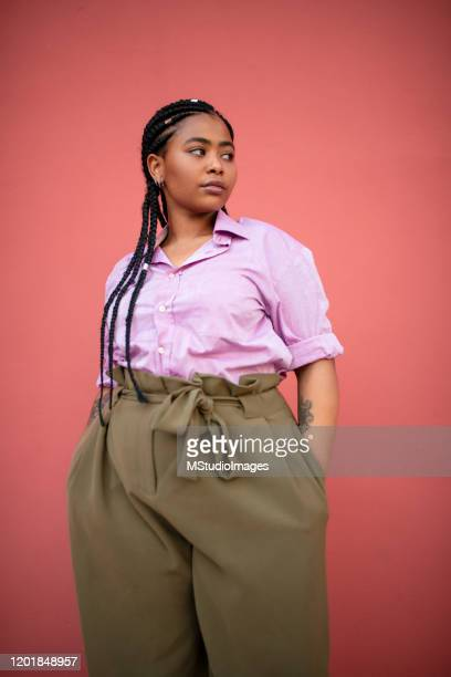 portrait of a beautiful african american woman - plus size model stock pictures, royalty-free photos & images
