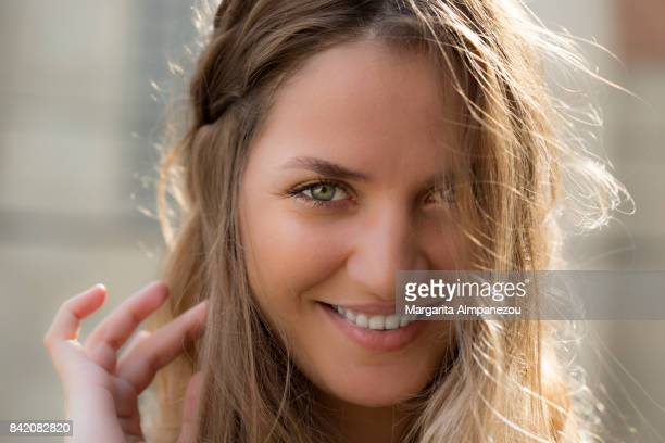 portrait of a beautiful algerian woman - green eyes stock pictures, royalty-free photos & images
