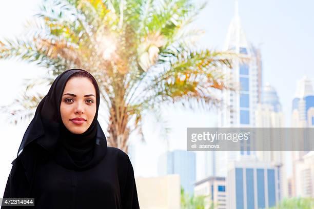 Portrait of a Beautiful Arabian Woman smiling in Dubai.