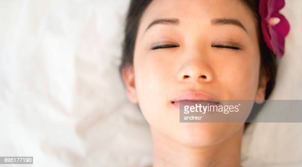 Portrait of a beautiful Asian woman at the spa
