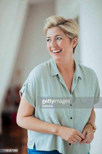 portrait of a beautiful blonde woman - 40 44 years stock pictures, royalty-free photos & images