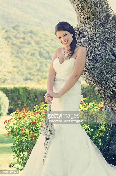Portrait of a beautiful bride on blurred backgroun