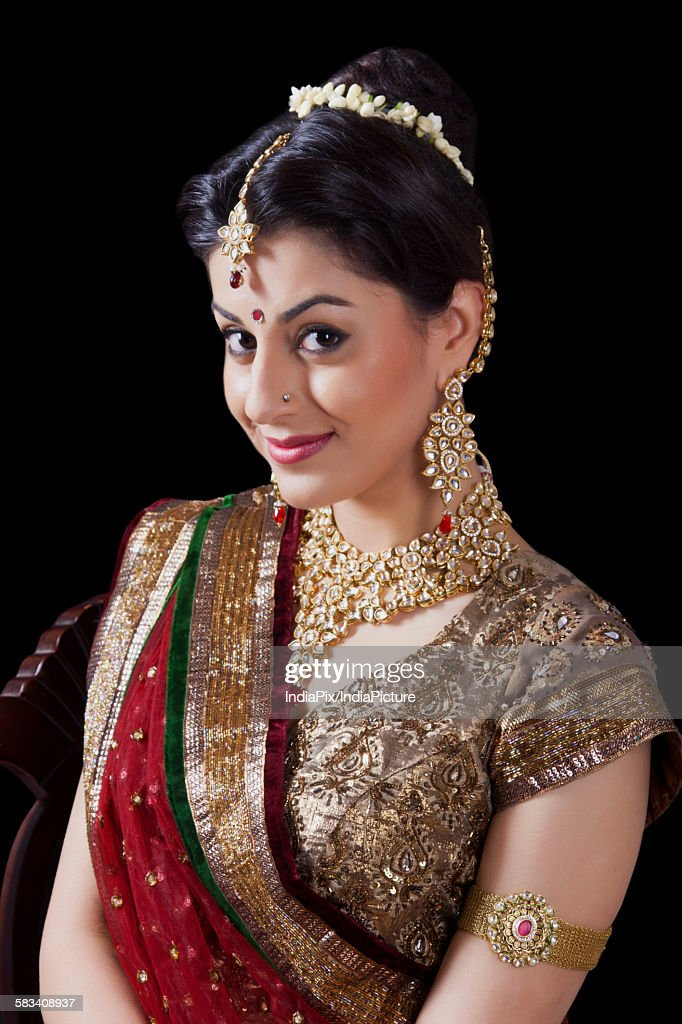 Portrait of a beautiful bride smiling : Stock Photo