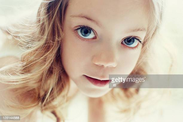 portrait of a beautiful girl with huge eyes - young tiny girls stock photos and pictures