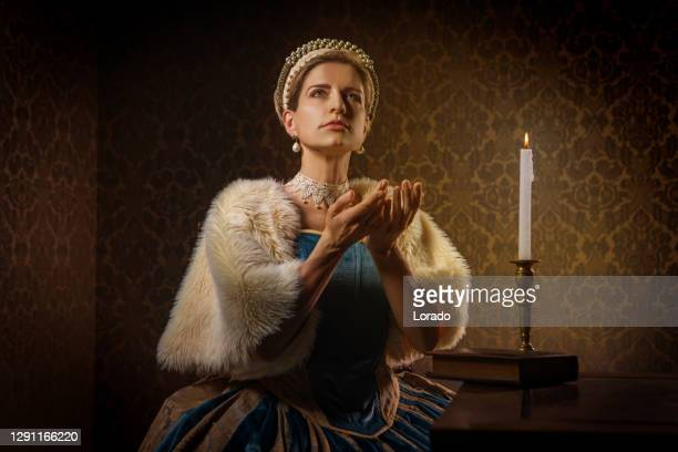 portrait of a beautiful historical dutch noble woman - historical clothing stock pictures, royalty-free photos & images