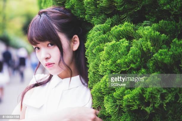 美しい日本の女の子の肖像画 - 欲望 ストックフォトと画像