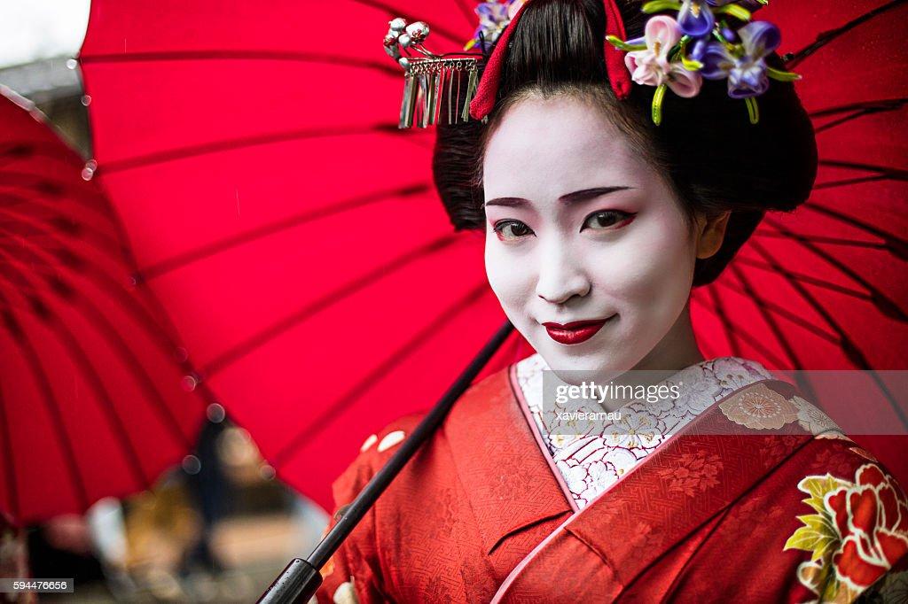 Portrait of a beautiful Maiko : Stock-Foto