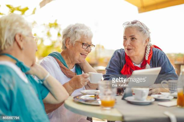 portrait of a beautiful senior women - active senior woman stock photos and pictures