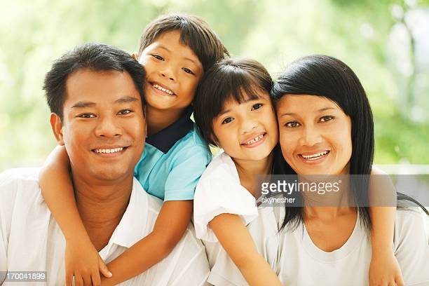 Portrait of a beautiful Thai family.