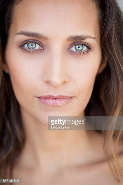 portrait of a beautiful woman - green eyes stock pictures, royalty-free photos & images