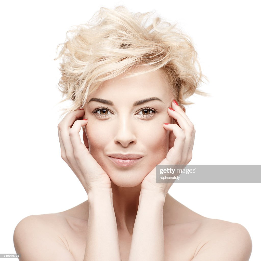 portrait of a beautiful woman with clean skin : Stock Photo