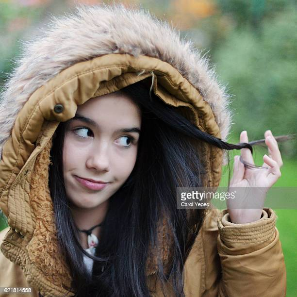 portrait of a beautiful woman  with fur hood - curvy girls stock photos and pictures