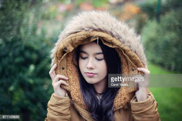 Portrait of a beautiful woman  with fur hood