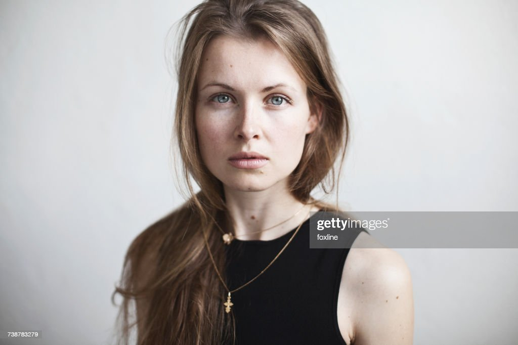 Portrait of a beautiful woman with long hair : Stock Photo