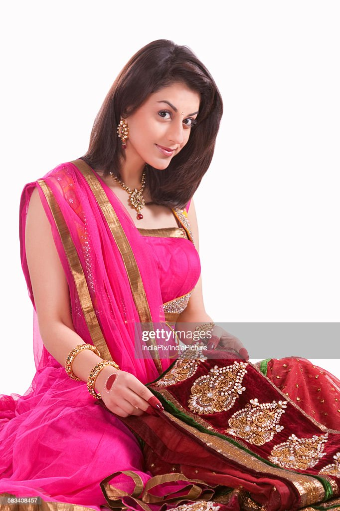 Portrait of a beautiful woman with wedding saree : Stock Photo