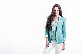 portrait beautiful young woman mint jacket