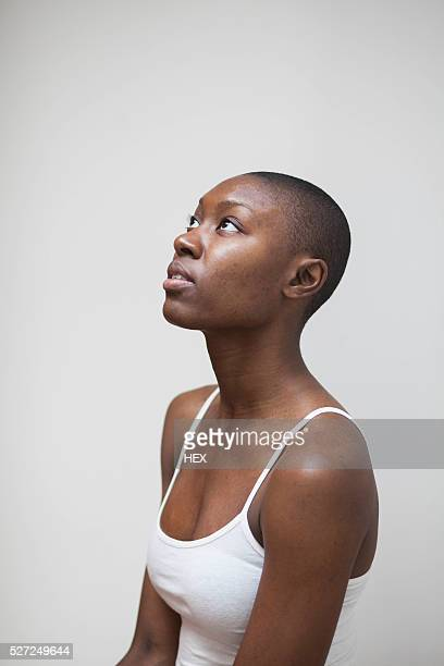 portrait of a beautiful young woman - shaved head stock pictures, royalty-free photos & images