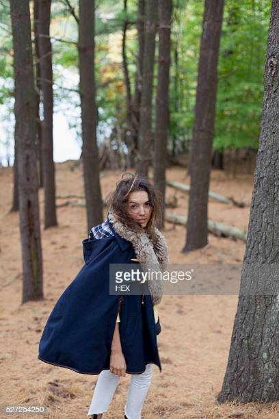 portrait of a beautiful young woman - fur trim stock pictures, royalty-free photos & images