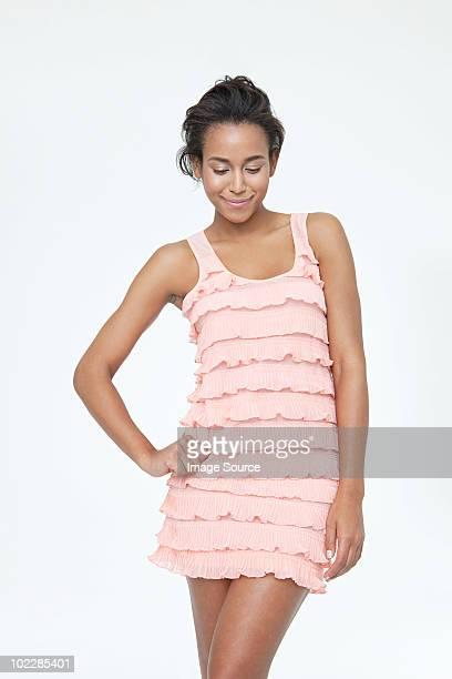 Portrait of a beautiful young woman wearing dress
